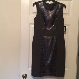 Ellen Tracy Smoke gray and leopard sequins dress